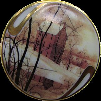 P Buckley Moss  1995 Golden Winter Porcelain Brooch Society Membership Anna Parrena