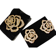 Elizabeth Taylor Crystal Rose Brooch and Earring Set 1995 in Original Boxes