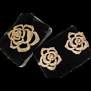 Elizabeth Taylor Crystal Rose Brooch and Earring Set 1995 in Original Boxes