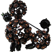 Cute Poodle Brooch in Sparkly Copper and Black Rhinestones and Black Body
