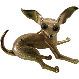 Marcel Boucher Chihuahua Figural Dog Pin in Gold Tone with Black Bead Eyes