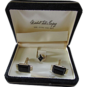Men's Onyx Cuff Link and Tie Tac Boxed Set Marshall Field & Co