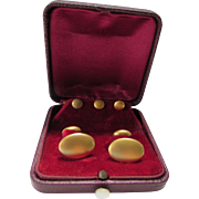 Mens Cuff Links and Studs Boxed Set in Flat Gold Tone Clover Mark