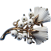 Vintage Trifari Brooch White Buds and Berries on Gold Tone Mount