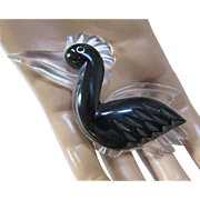 Lucite Pelican Pin Brooch in White and Black