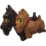 Carved Wood Double Scottie Dogs Brooch