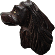 Mid Century Wood Brooch of Spaniel Dog in Dark Brown As Is Free Shipping USA