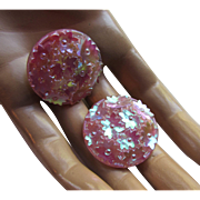 Sparkly Iridescent Pink Button Style Earrings Clip Mid Century