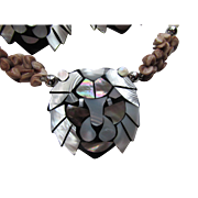 Silver Tone and Black Lion Face Necklace and Earrings 1970 Style Plastic