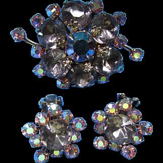 Aurora Borealis Set Brooch and Earrings Pink and Purple Headlight Stones