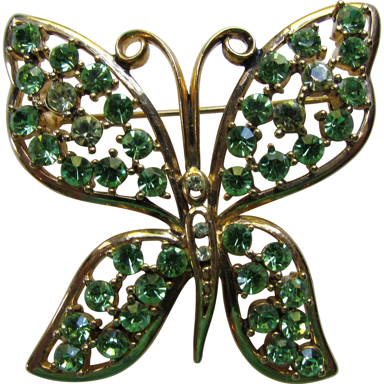 Rhinestone Butterfly in Lovely Shades of Green on Gold Tone Mount