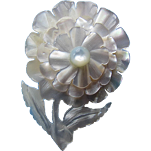 Pearly Flower Pin in Dimensional Layers Mother of Pearl Simulation