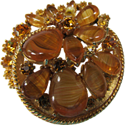 ART Brooch in Autumn Colors of Fall Orange and Amber Tone