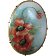 Early 1900 Victorian Edwardian Painted Porcelain Brooch in Poppy Design
