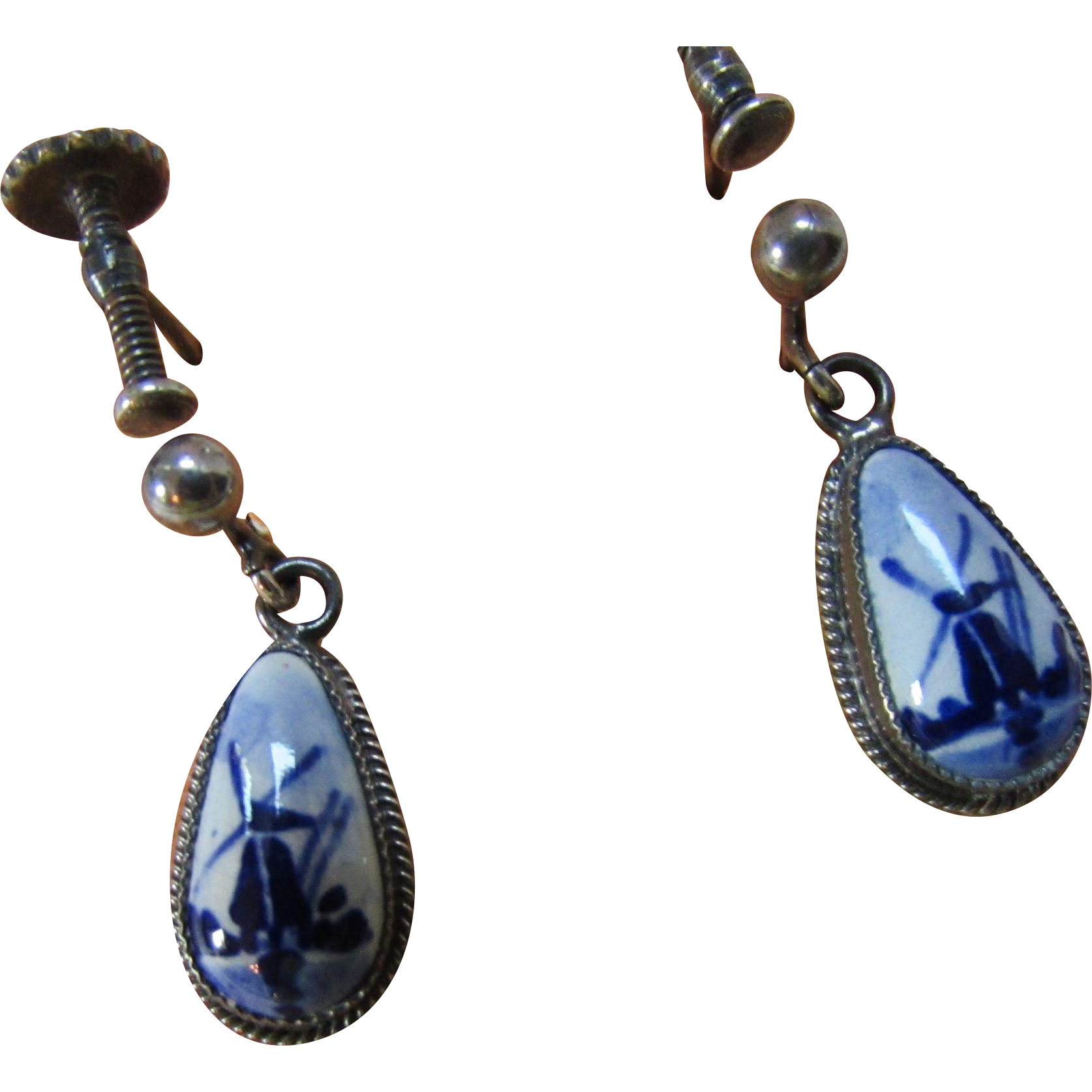 "Delft Holland Earrings in Blue Windmill ""L"""