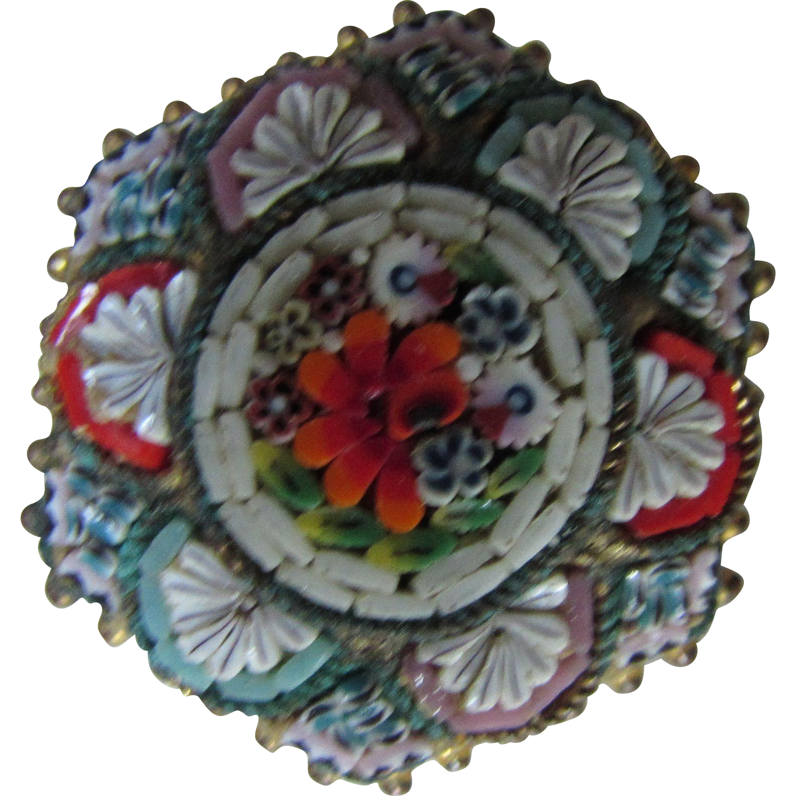 Micro Mosaic Flower Six Sided Brooch Made in Italy