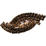 Sparkly Rhinestone Amber Tone Brooch Three Rows in Sensuous Curve