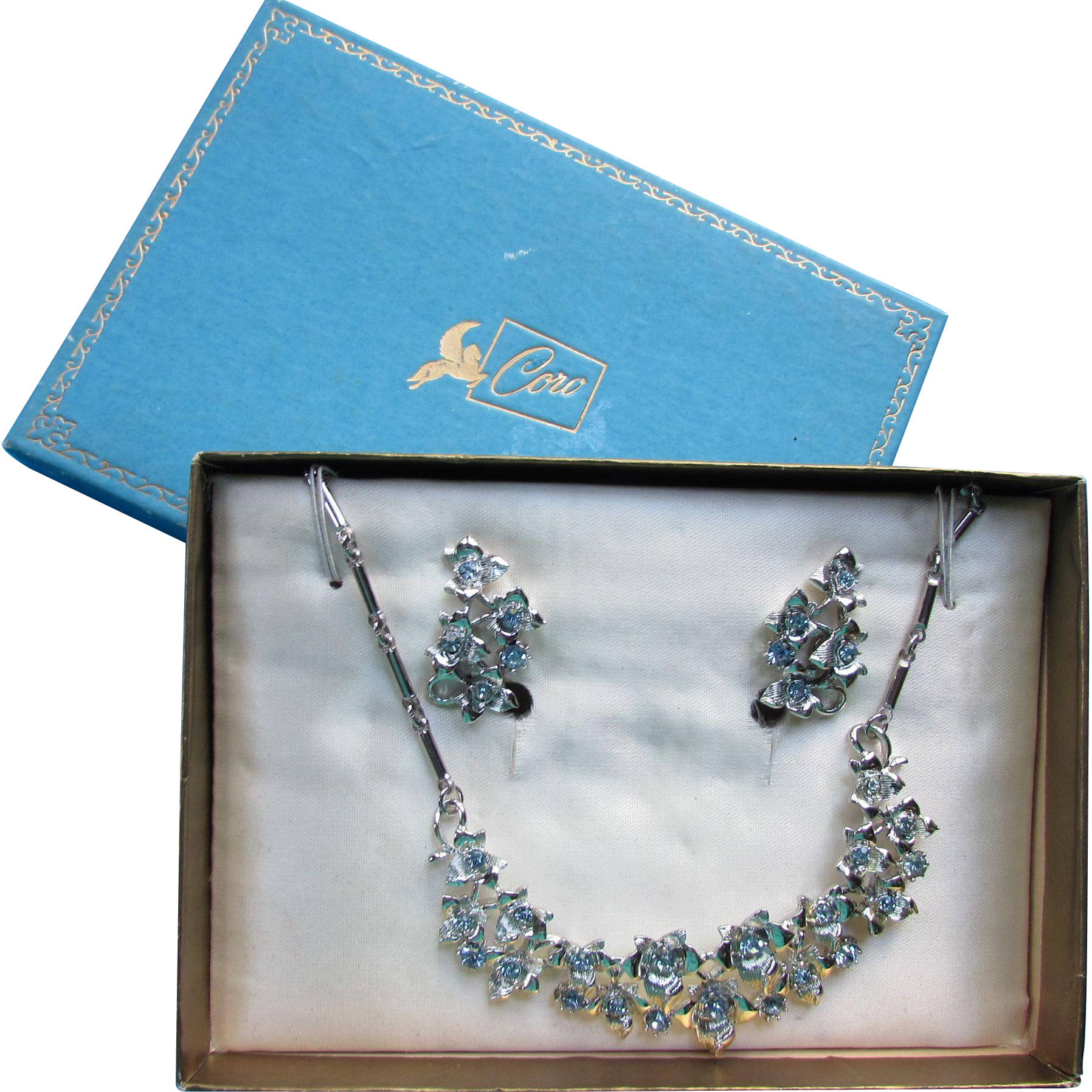 Coro Set in Original Pegasus Box Ice Blue Rhinestone Necklace and Earrings