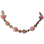 Pretty in Pink Bead Choker Necklace with Emerald Tone Green Beads
