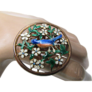 Enamel Brooch of Blue Bird in Dogwood Tree Open Work Filigree