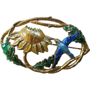 Enamel Open Work Brooch of Blue Bird and Sunflower