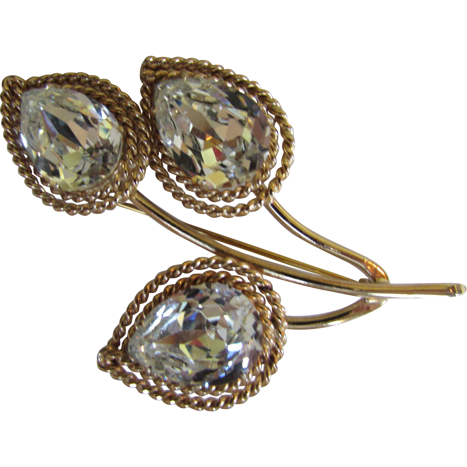 Napier Tear Drop Clear Stone Brooch with Foiled Back