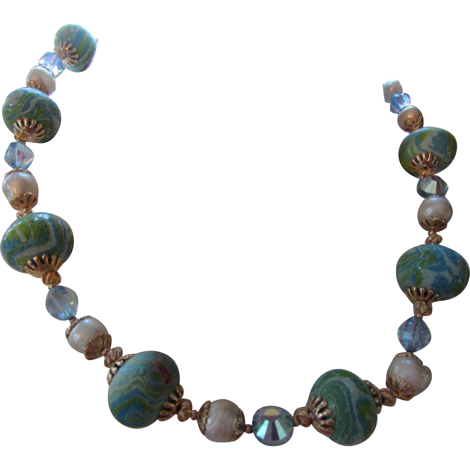 Vendome Necklace in Sea Colors of Blue and Green with Faux Pearls Flower Blossom Hook