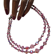 Two Strand Choker in Lovely Faceted Pink Beads