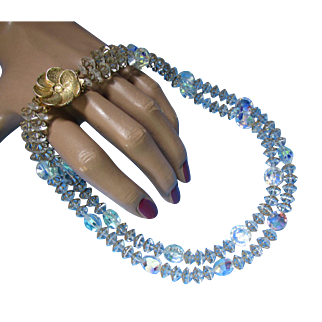 Double Strand Choker Necklace in Clear Iridescent Crystals and Gold Tone Accents