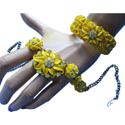 Sunny Yellow Clamp Bracelet and Necklace in Molded Plastic and Clear Rhinestones '50's '60's All the Way