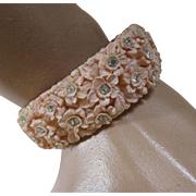 Celluloid Plastic Clamp Bracelet in Pink Molded Flowers and Clear Rhinestones