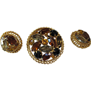 Autumn Tone Brooch and Earring Set in Prong Set Navettes and Round Stones