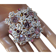 Little Confection of a Brooch in White with Raised Lavender Stones