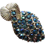 Leaf Brooch in Teal Iridescent Rhinestones Pave Style on Gold Tone Mount
