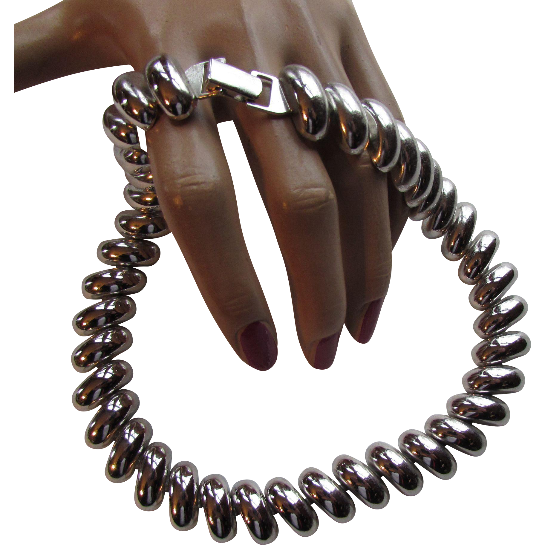 Napier Necklace in Silver Tone Curved Lozenges