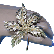 Trifari Brushed Gold Tone Maple Leaf Brooch
