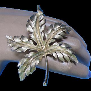 Trifari Brushed Gold Tone Maple Leaf Brooch