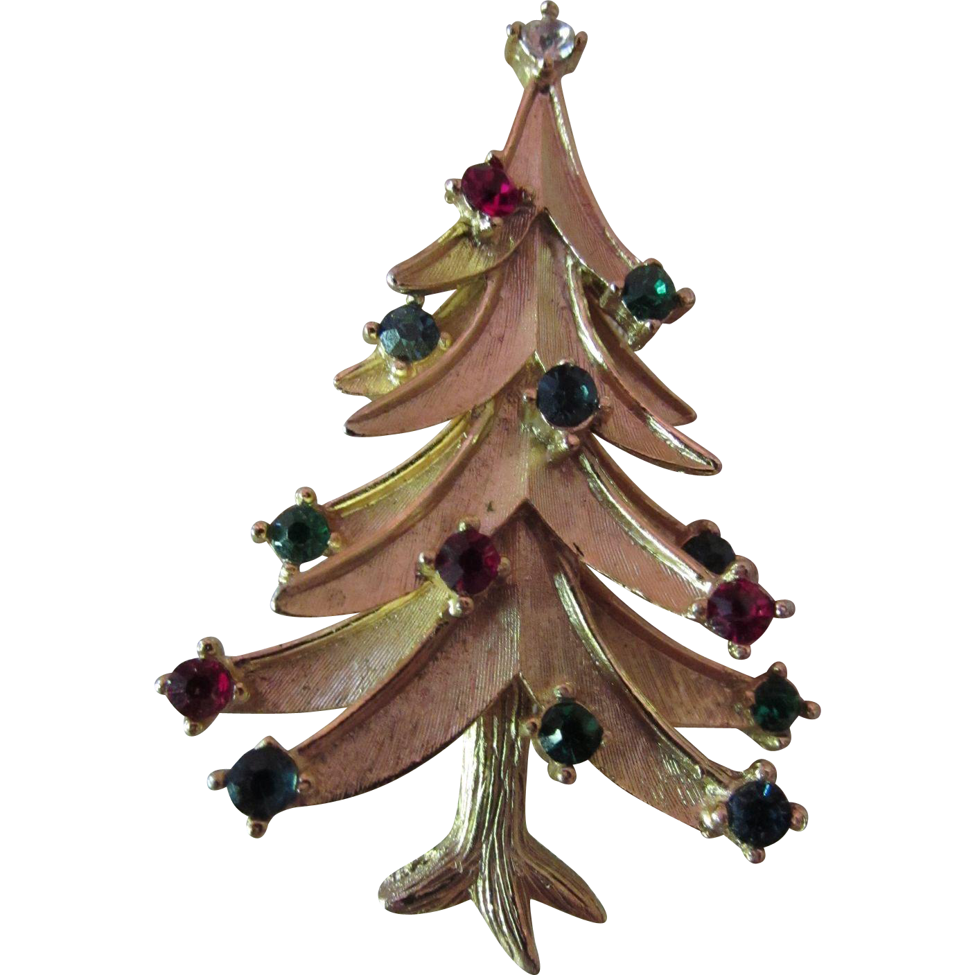 Christmas Tree Brooch Pin Crown Trifari Booked