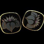 Laurel Burch HO HWA Earrings Post Pierced in Blue Gray and Black