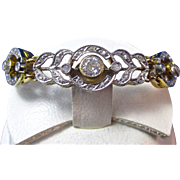 Art Deco Vintage 1920's Old European & Rose Cut Diamond Wedding Day Anniversary Birthstone Bracelet 14K Yellow & White Gold