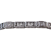Vintage Art Deco 1930's Old European Cut Diamond Filigree Bracelet Platinum