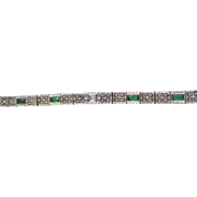 Incredible Diamond & Emerald Art Deco Bracelet 14K