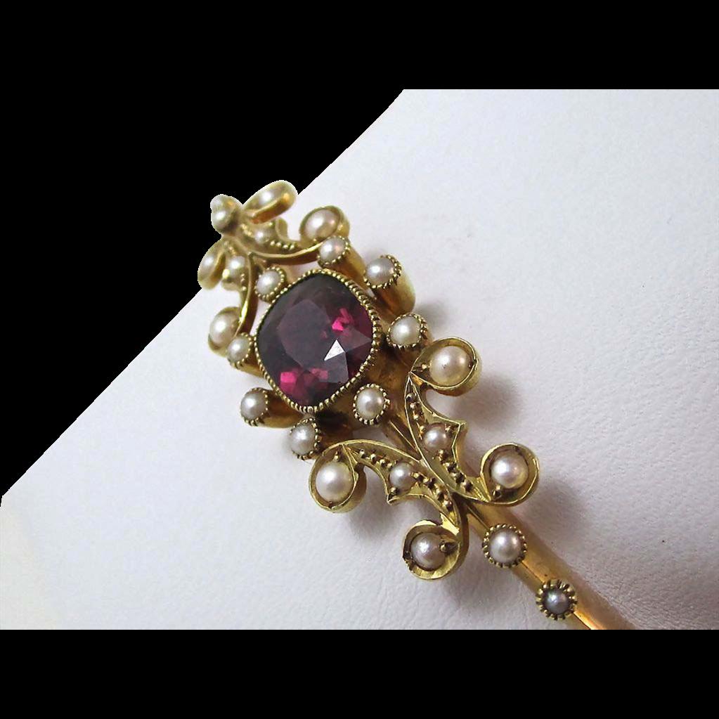 Antique Edwardian 1905 English Rhodolite Garnet Wedding Day Anniversary Birthstone Bangle Bracelet 15K Yellow Gold