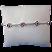 Vintage Estate 1960's Pink Sapphire Diamond Bracelet 14K