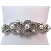 Vintage Estate 1950's Cultured Pearl & Diamond Bangle Wedding Birthstone Anniversary Bracelet 14K White Gold