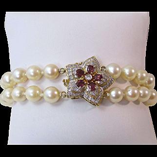 Vintage Estate Akoya Cultured Pearl,Diamond, Ruby Vintage Wedding Birthstone Bracelet 14K
