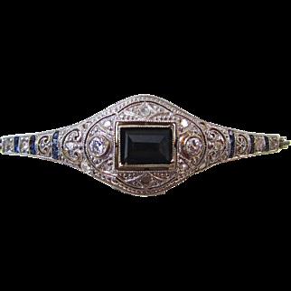 Antique Victorian 1890's Old European Diamond & Sapphire Bracelet 18K