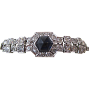 Estate Vintage Natural Sapphire & Diamond Wedding Birthstone Anniversary Bracelet 14K White Gold