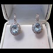 Elegant Aquamarine & Diamond Vintage Wedding Earrings 18K