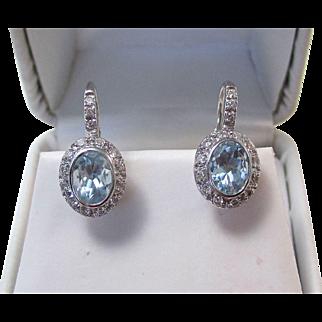 Vintage Estate Wedding 1990's Aquamarine & Diamond Earrings 18K